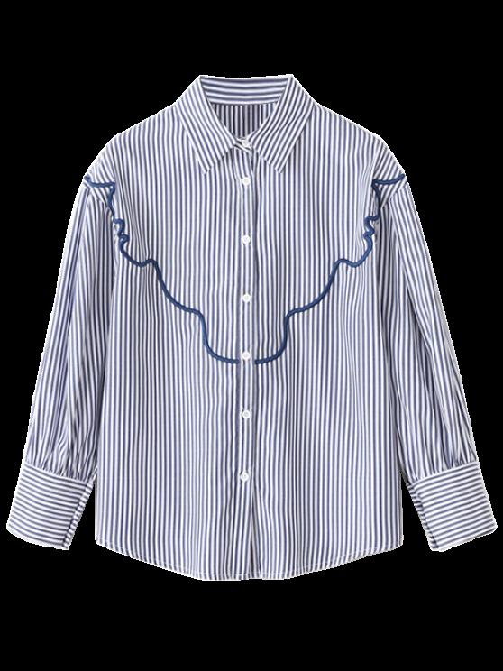 Chemise ample brodée à rayures - Rayure L