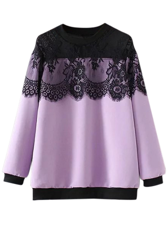Sheer Shoulder Lace Insert Sweatshirt - LIGHT PURPLE 2XL Mobile