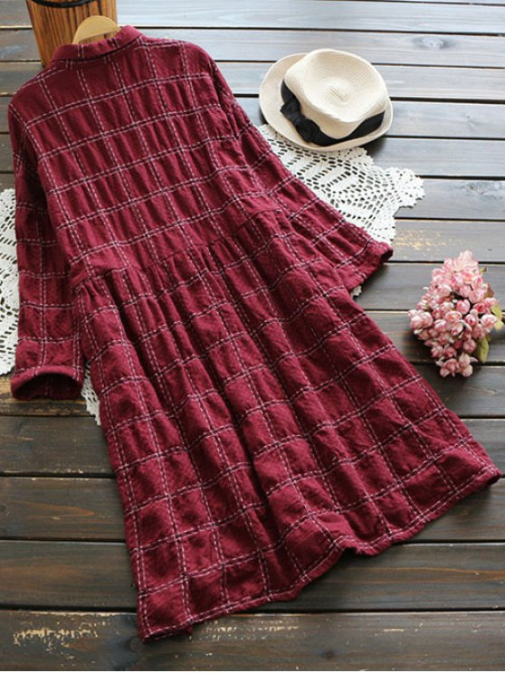 Buttoned Plaid Long Sleeve Dress - DARK RED ONE SIZE Mobile