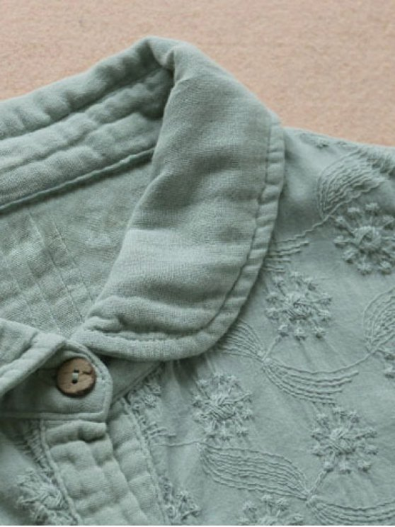 Embroidered Pintuck Tunic Shirt - LIGHT GREEN ONE SIZE Mobile
