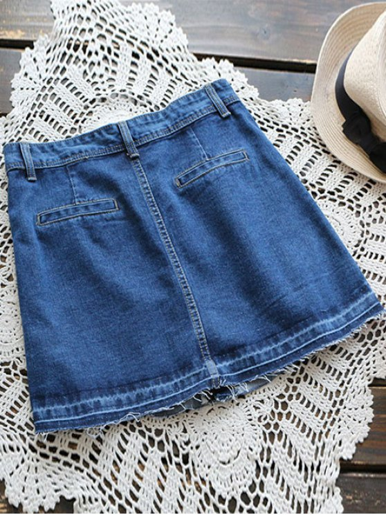 Button Up Denim Mini Skirt - DENIM BLUE S Mobile