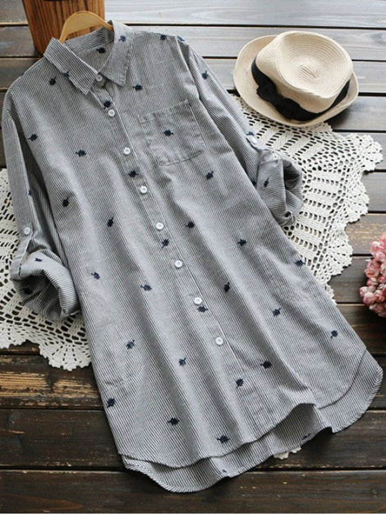 Leaf Embroidered Striped Pocket Tunic Shirt - GRAY ONE SIZE Mobile