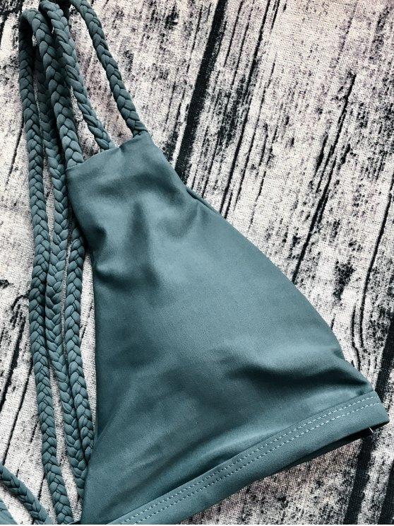 Low Cut Strappy Bralette Bikini - ARMY GREEN M Mobile