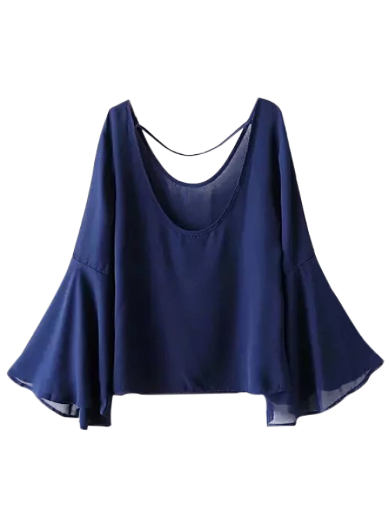 new Flare Sleeve String Blouse - CADETBLUE M