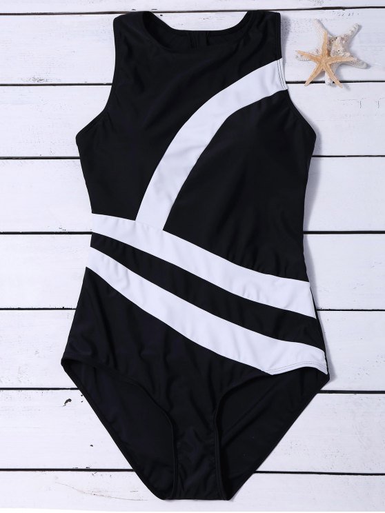 shop Zippered Color Block Swimwear - BLACK XL