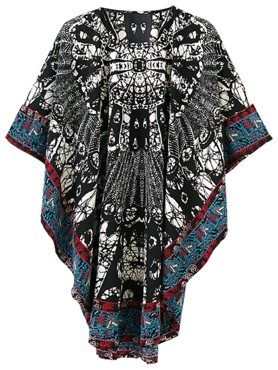 outfits Tribal Print Oversized Kimono Dress - MULTICOLOR S