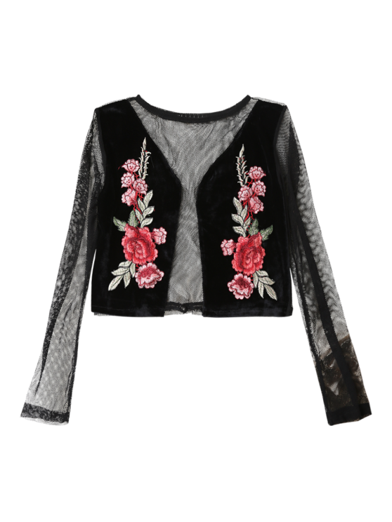 Mesh Floral Embroidered Crop Top - BLACK S Mobile