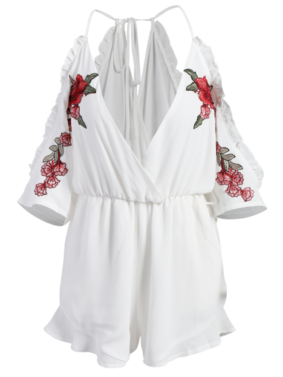 Embroidered Surplice Cami Romper - WHITE S Mobile