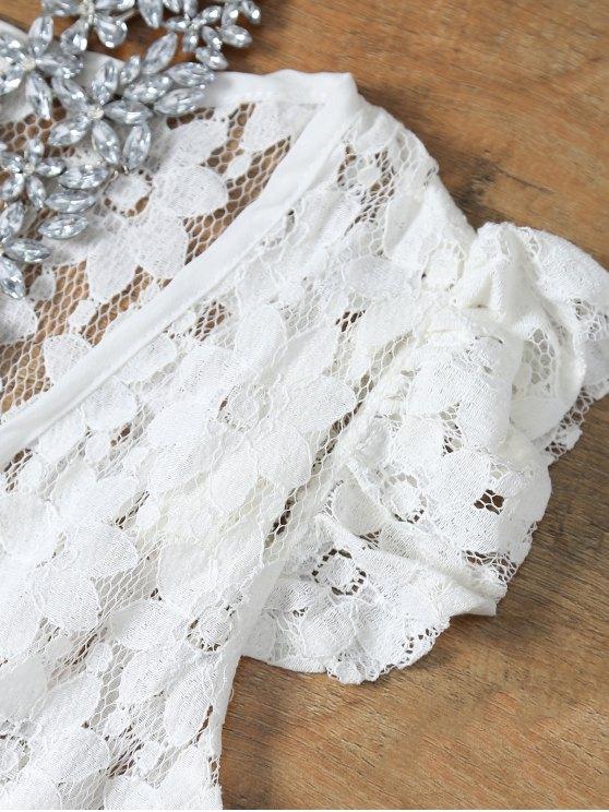 Deep V Neck Crochet Flower Romper Cover-Up - WHITE L Mobile