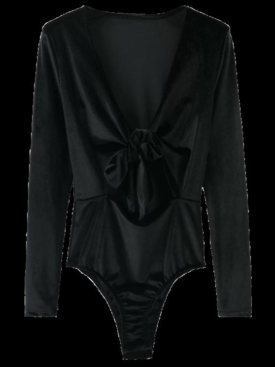 lady Bowknot Cut Out Bodysuit - BLACK L