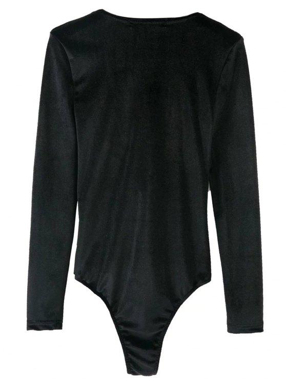 Bowknot Cut Out Bodysuit - BLACK L Mobile