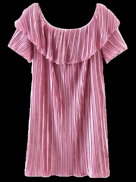 trendy Off The Shoulder Crushed Velvet Mini Dress - PINK S
