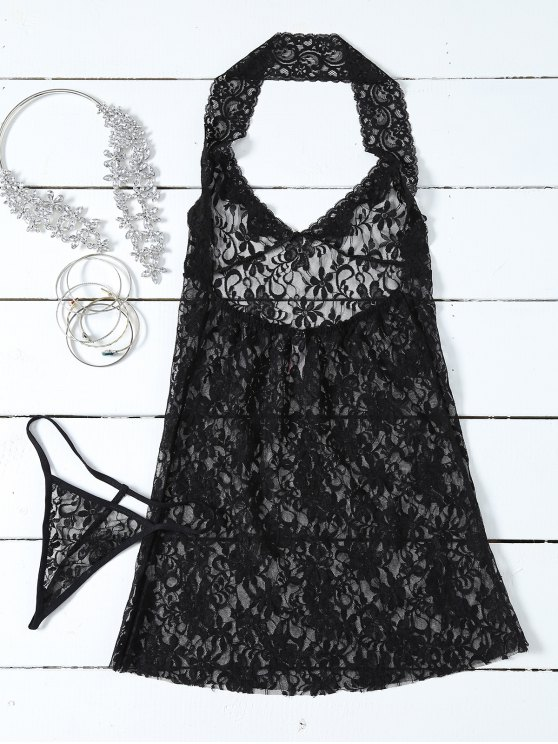 See-Through Lace Halterneck Babydoll - BLACK ONE SIZE Mobile