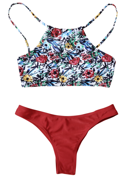 High Neck Printed Bikini - RED M Mobile