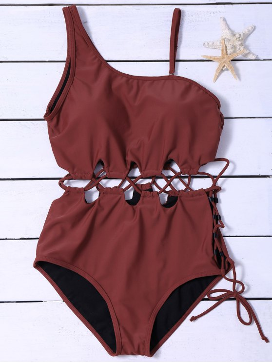 latest Slimming Lacing Asymmetric Swimsuit - BURGUNDY 2XL