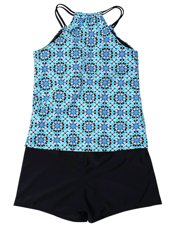Padded Printed Tankini with Boxers - LIGHT BLUE M Mobile
