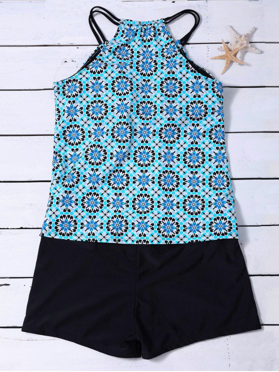 affordable Padded Printed Tankini with Boxers - LIGHT BLUE M