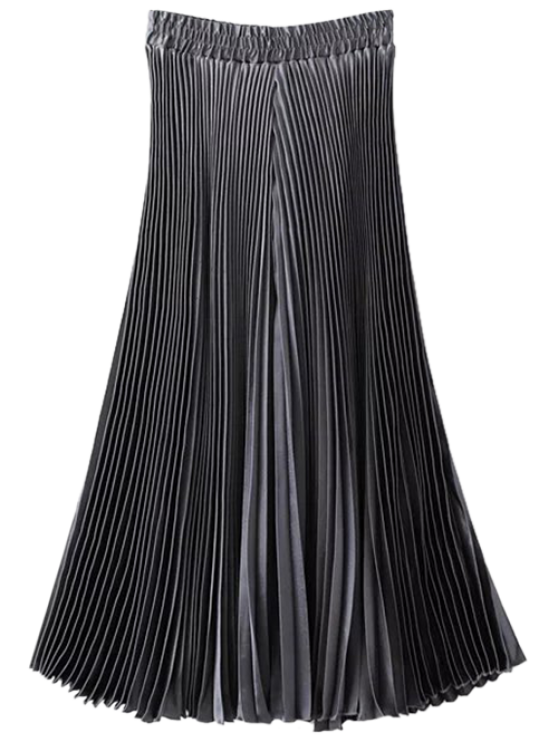 best High Waisted Pleated Wide Leg Capri Pants - SILVER GRAY ONE SIZE