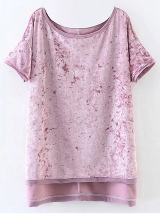 chic Slit High Low Velvet T-Shirt - PINK S