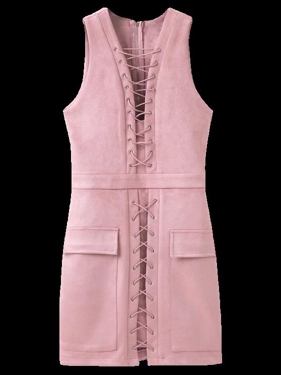 fashion Suede Lace Up Bodycon Vest Dress - PINK L