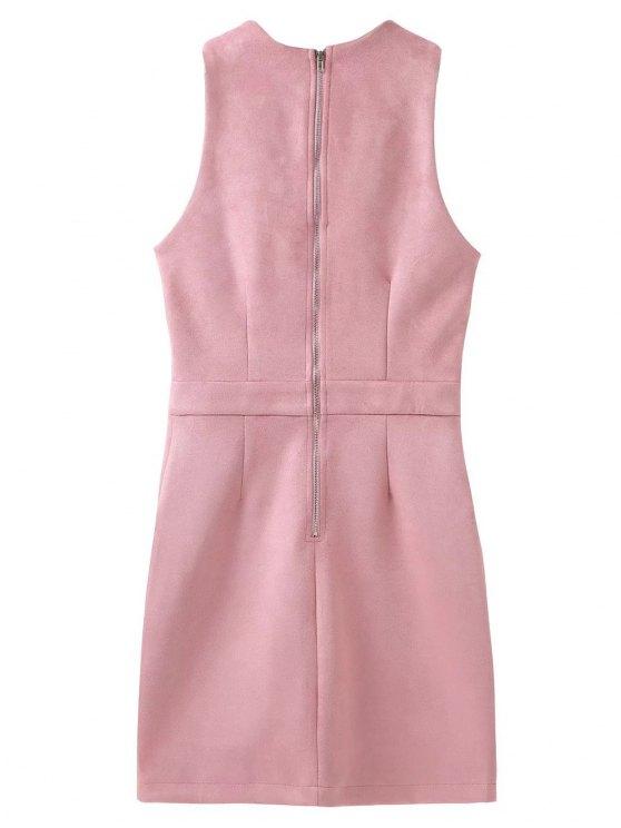 Suede Lace Up Bodycon Vest Dress - PINK L Mobile