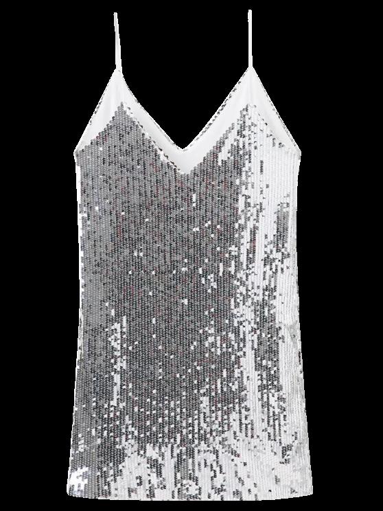 Hundiendo cuello de las lentejuelas vestido de Cami - Plata L