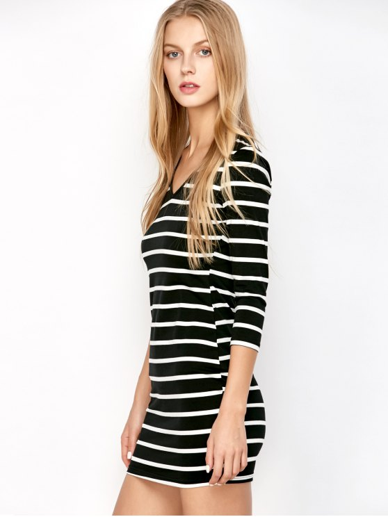Fitted Striped T-Shirt Dress - COLORMIX ONE SIZE Mobile