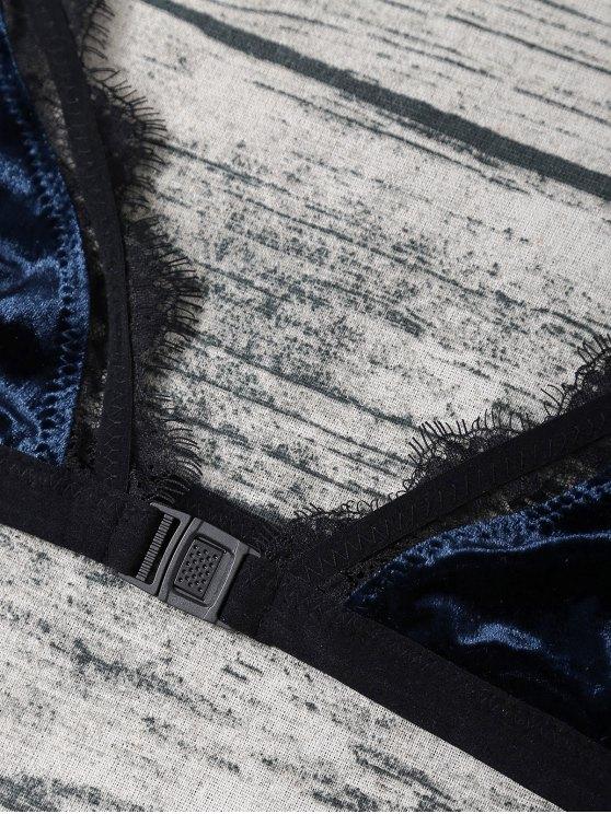 Frayed Lace Panel Velvet Bra Set - DEEP BLUE S Mobile