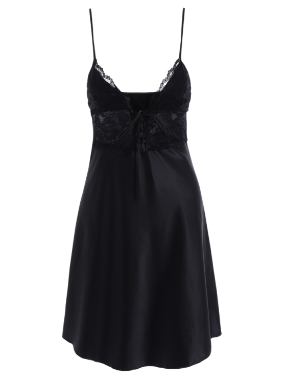 Cami Lace Up Lace Panelled Babydoll - BLACK M Mobile