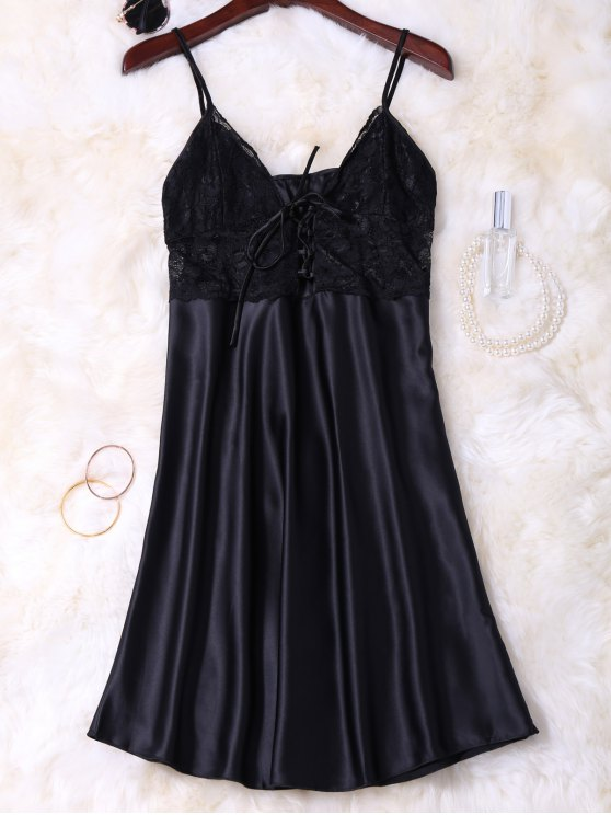 Cami Lace Up Lace Panelled Babydoll - BLACK L Mobile