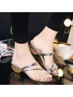 Metal Color Rhinestones Slippers - Silver 38