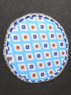 Serviette Ronde De Plage Imprimée De Motifs Géométriques - Bleu