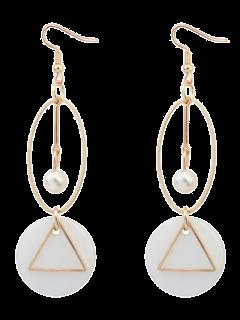 Artificial Pearl Geometric Drop Earrings - Golden