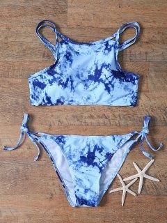Printed High Neck Criss Back Bikini Set - Blue M