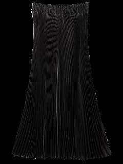 High Waisted Pleated Wide Leg Capri Pants - Black