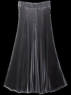 High Waisted Pleated Wide Leg Capri Pants - Silver Gray