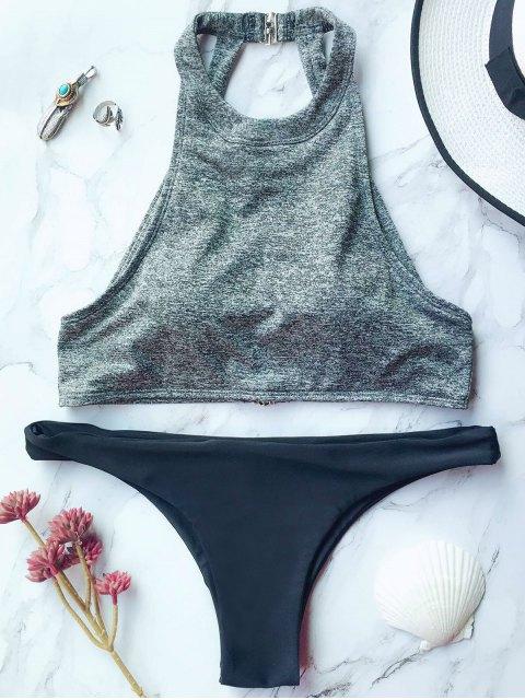 latest High Neck Padded Thong Bikini - GRAY M Mobile