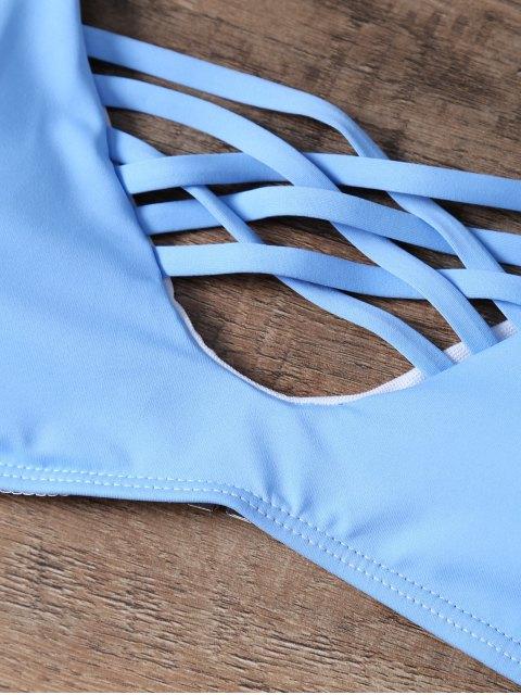 new Snakeskin Lattice Bikini Set - BLUE S Mobile