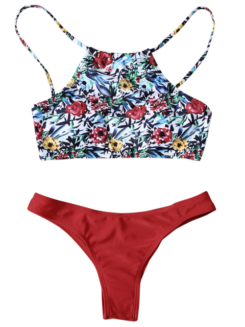 fashion High Neck Printed Bikini - RED M Mobile