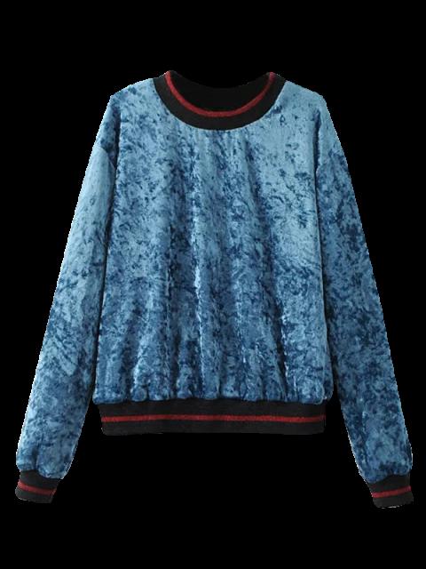 lady Loose Crushed Velvet Sweatshirt - BLUE L Mobile