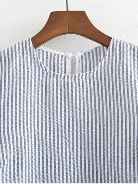 trendy Striped Lace Insert T-Shirt - BLUE L Mobile