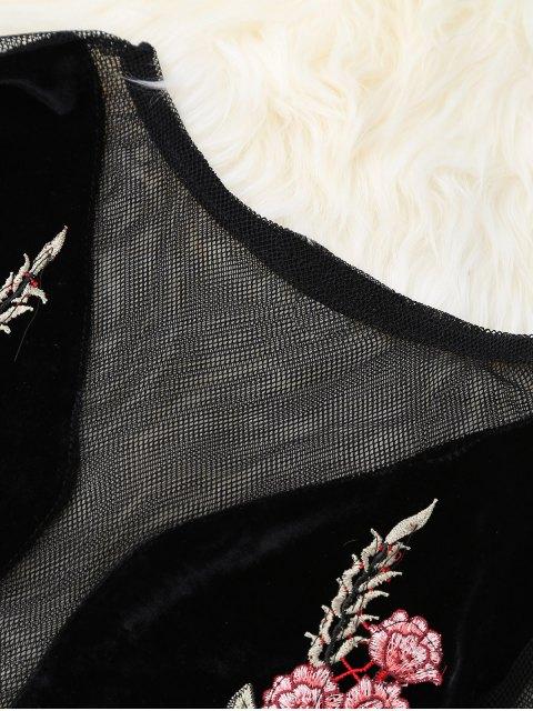 affordable Mesh Floral Embroidered Crop Top - BLACK M Mobile