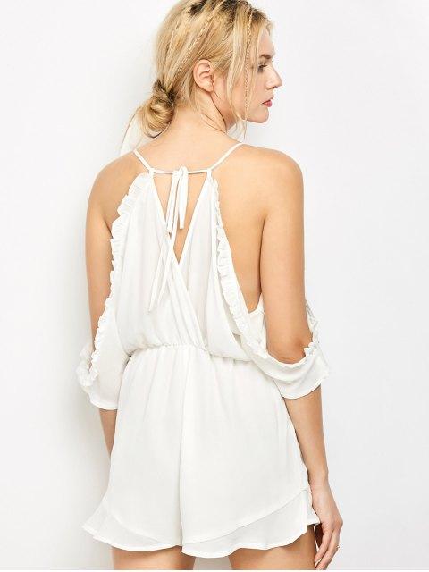 latest Embroidered Surplice Cami Romper - WHITE M Mobile
