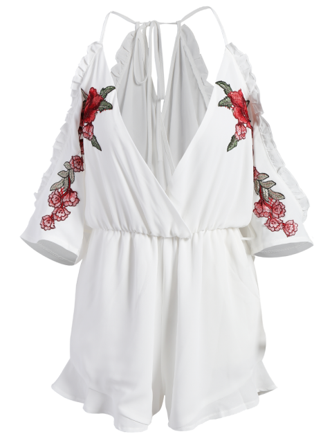 trendy Embroidered Surplice Cami Romper - WHITE S Mobile