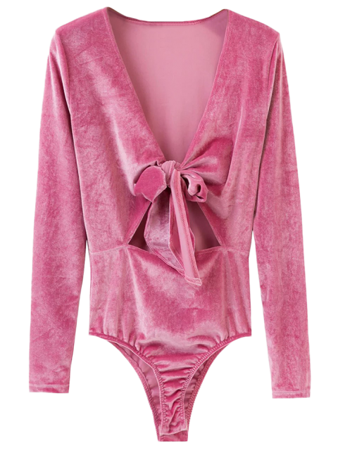 hot Bowknot Cut Out Bodysuit - PINK M Mobile
