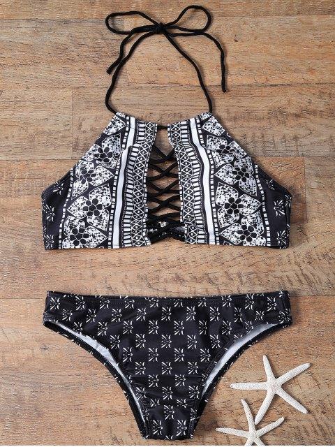trendy Lattice High Neck Bikini - BLACK S Mobile