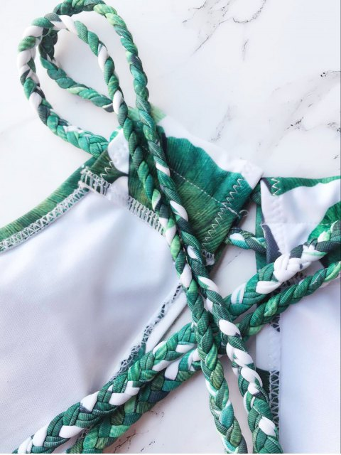 fancy Braided Keyhole Plunge Bikini - WHITE AND GREEN S Mobile
