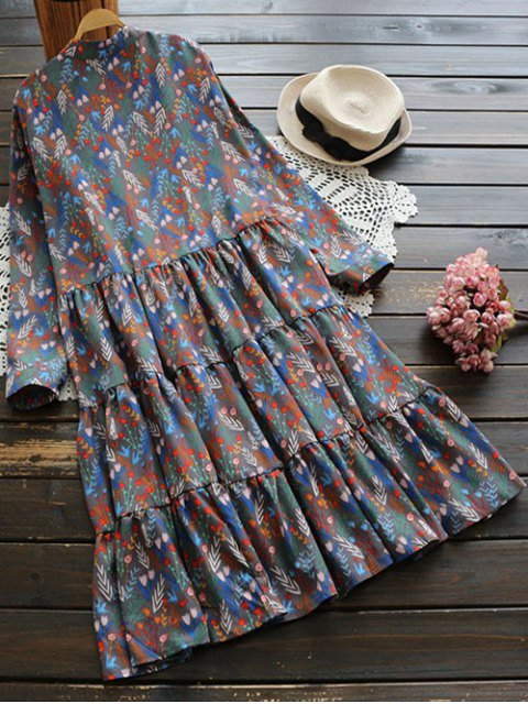 womens Long Sleeve Floral Buttoned Dress - MULTICOLOR ONE SIZE Mobile
