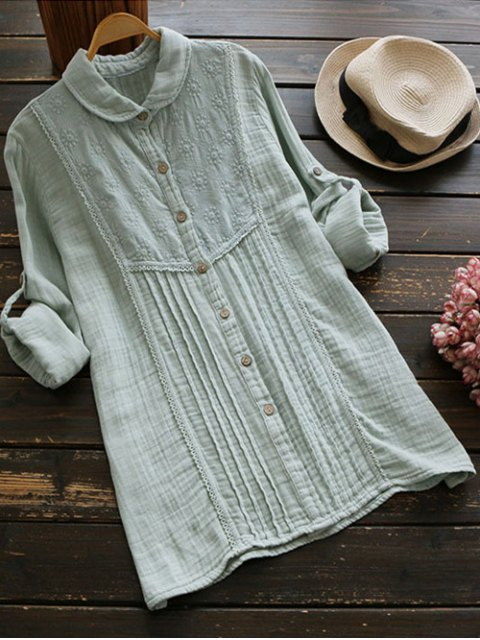 chic Embroidered Pintuck Tunic Shirt - LIGHT GREEN ONE SIZE Mobile