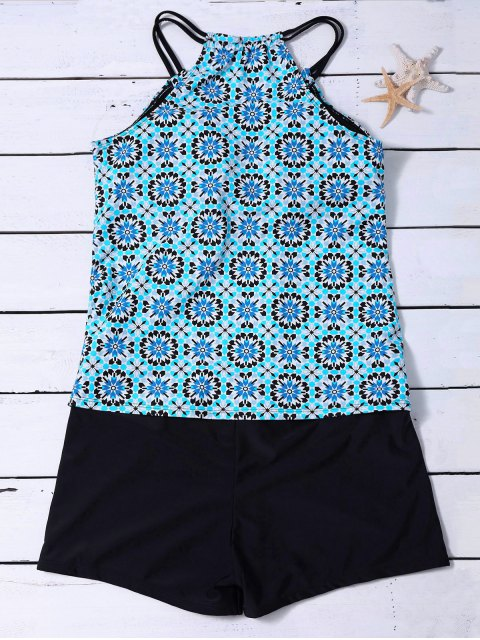 buy Padded Printed Tankini with Boxers - LIGHT BLUE L Mobile